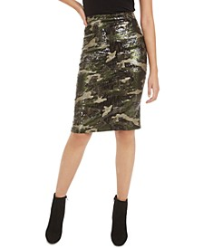 Sequined Camo-Print Skirt, Created for Macy's