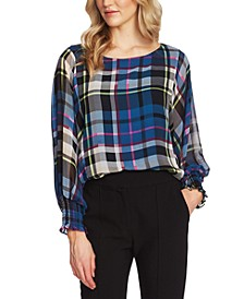 Plaid-Print Blouson-Top