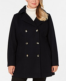 Plus Size Double-Breasted Hooded Peacoat