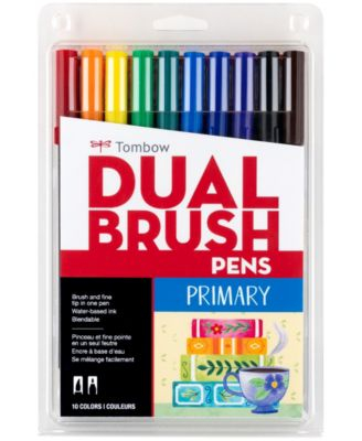 Tombow Dual Brush Pen Art Markers, Primary, 10-Pack
