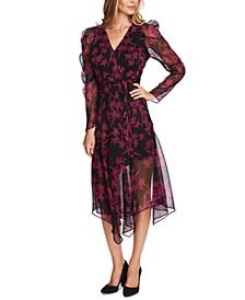 Printed Asymmetrical Faux-Wrap Dress