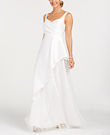 Adrianna Papell Asymmetrical Pleated Gown