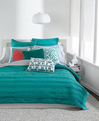 Bar Iii Solid Teal Ruffled Coverlet Collection Quilts