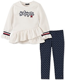 Tommy Hilfiger Little Girls Ruffled Sweatshirt & Printed Leggings Set