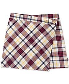 Big Girls Cotton Plaid Wrap Skort