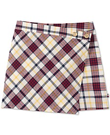 Tommy Hilfiger Big Girls Cotton Plaid Wrap Skort
