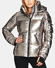 Kylie Metallic Hooded Puffer Coat