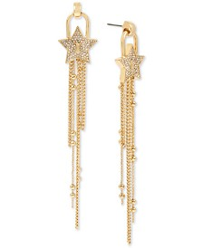 BCBGeneration Gold-Tone Crystal Starry Chain Drop Earrings