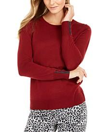Merino Wool  Button-Cuff Crewneck Sweater, Created for Macy's