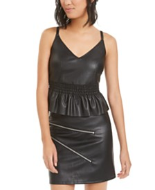 Bar III Faux-Leather Peplum Camisole, Created for Macy's