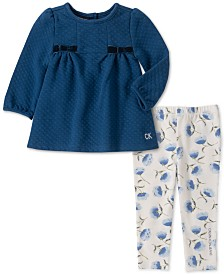 Calvin Klein Little Girls Bow Tunic & Floral-Print Leggings Set