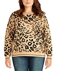 Trendy Plus Size Rikki Leopard-Print Sweater