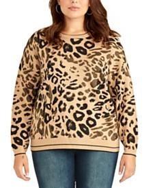 RACHEL Rachel Roy Trendy Plus Size Rikki Leopard-Print Sweater