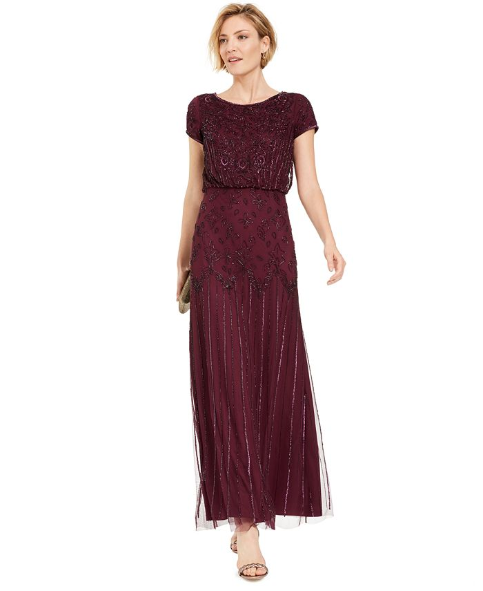 Adrianna Papell - Beaded Short-Sleeve Gown
