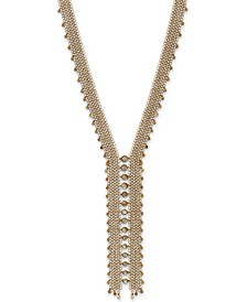 "Gold-Tone Mother-of-Pearl Layered Chain Statement Necklace, 22"" + 2"" extender"