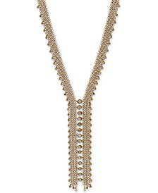 "Lucky Brand Gold-Tone Mother-of-Pearl Layered Chain Statement Necklace, 22"" + 2"" extender"