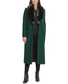DKNY Faux-Fur-Collar Maxi Coat