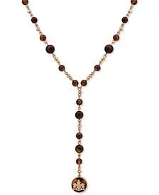 """Lauren Ralph Lauren Gold-Tone & Tortoise-Look Crest Lariat Necklace, 24""""  + 3"""" extender"""