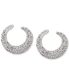 Lauren Ralph Lauren Silver-Tone Pavé Hoop Earrings