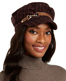 INC Windowpane-Plaid Cap, Created for Macy's