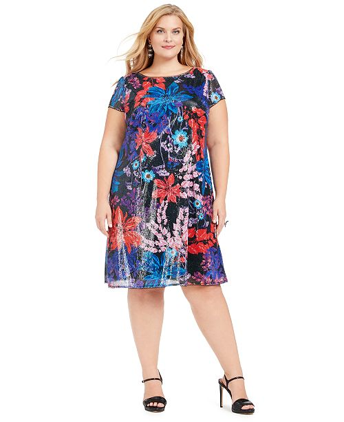 Plus Size Printed Sequin Dress
