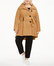Juniors'  Plus Size Skirted Belted Coat, Created for Macy's