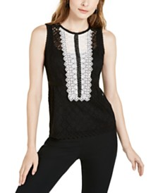 Nanette Lepore Lace-Trimmed Tank Top, Created for Macy's