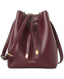 Lauren Ralph Lauren Debby II Leather Drawstring Bag