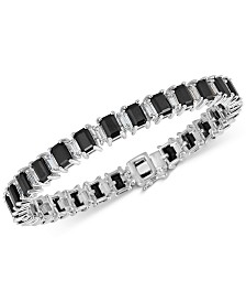Black Sapphire (18 ct. t.w.) & White Topaz (4 ct. t.w.) Tennis Bracelet in Sterling Silver