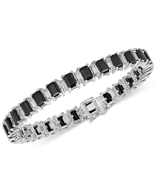 Macy's Black Sapphire (18 ct. t.w.) & White Topaz (4 ct. t.w.) Tennis Bracelet in Sterling Silver