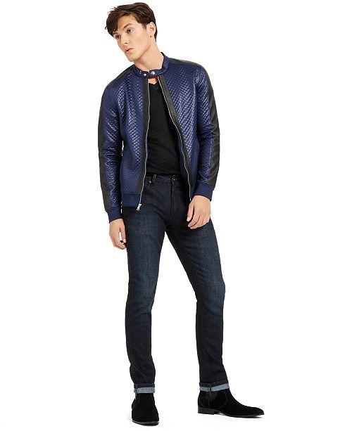 INC International Concepts I.N.C. Men's Quilted Knit Vacation Jacket, V-Neck T-Shirt & Mantix Skinny-Fit Jeans