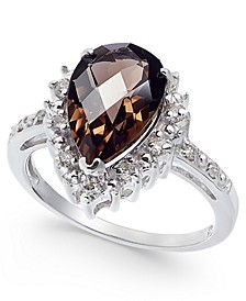 Smoky Quartz (2-1/3 ct. t.w.) & Diamond (1/4 ct. t.w.) Teardrop Halo Ring in Sterling Silver