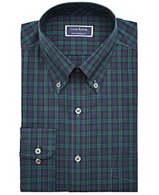 Men's Big & Tall Classic/Regular-Fit Wrinkle-Resistant Blackwatch Plaid Dress Shirt, Created For Macy's