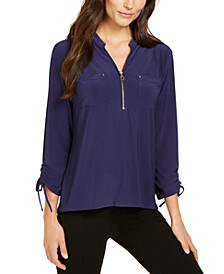 Petite Zip-Neck Tie-Cuff Top