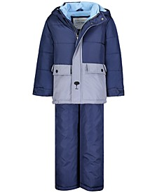 Toddler Boys 2-Pc. Hooded Teddy Bear Snowbib Snowsuit