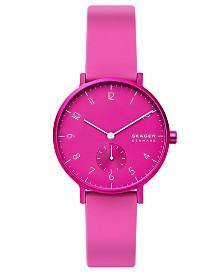 Skagen Unisex Aaren Kulor Pink Silicone Strap Watch 36mm
