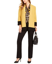 Kasper Wool Cardigan, Printed Tie-Neck Blouse, & Bootcut Compression Pants