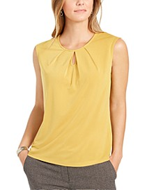Petite Pleated Keyhole Top