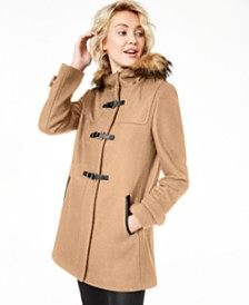 Cole Haan Signature Faux-Fur-Trim Hooded Coat