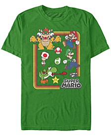 Men's Super Mario Retro Group Playing Short Sleeve T-Shirt