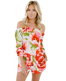 Plum Pretty Sugar off the Shoulder Petaled Romper