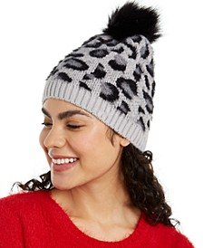 INC Fuzzy Animal-Print Beanie with Faux-Fur Pom, Created For Macy's