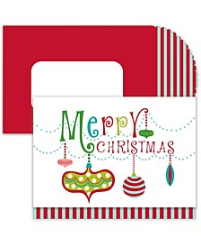 Christmas Ornaments Holiday Boxed Cards, 16 Cards and 16 Envelopes
