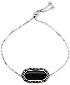Genuine Swarovski Marcasite Onyx Shapely Stone Slider Bracelet in Fine Silver-Plate Also in Paua Shell