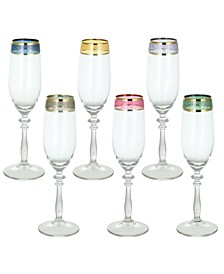 Multicolor Italian Wine Glasses Flutes Set of 6