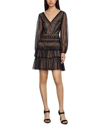 BCBGMAXAZRIA Womens Tiered Ruffle Flared Dress
