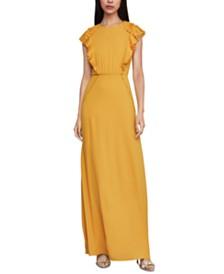 BCBGMAXAZRIA Ruffled Flutter-Sleeve Gown