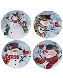 Certified International Watercolor Snowman 4-Pc. Dessert Plate