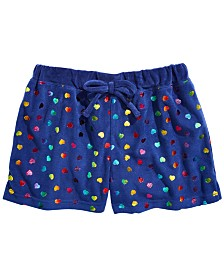 Max & Olivia Little & Big Girls Foil Heart-Print Velour Pajama Shorts, Created For Macy's