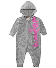 Baby Girls Hooded Logo-Print French Terry Coverall